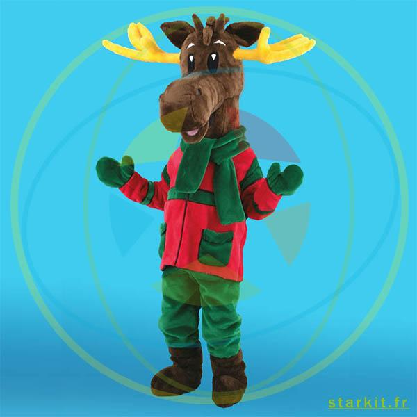 Mascotte costume RENNE DE NOEL géant